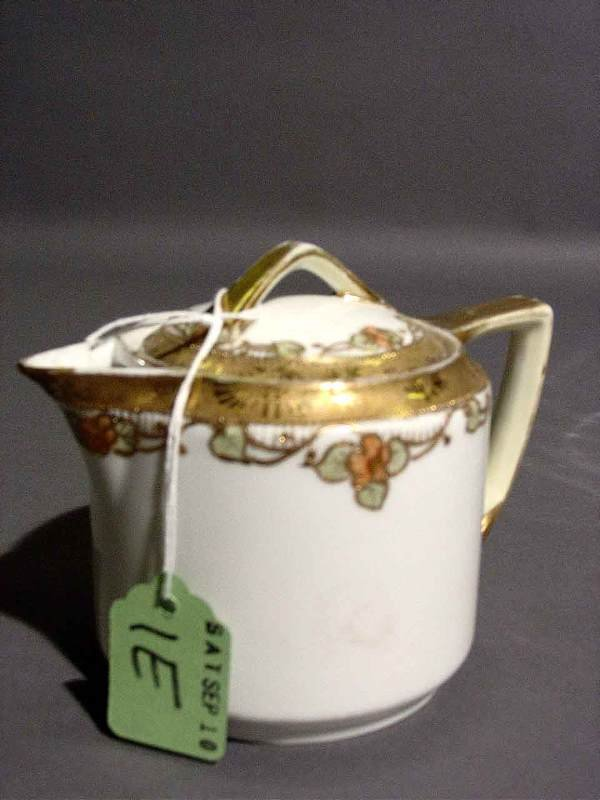 1E: SMALL FLORAL AND GILT DECORATED NIPPON INDIVIDUAL T