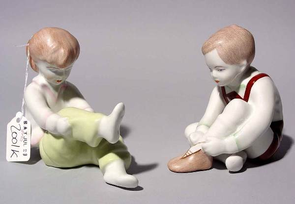 1G: PAIR OF SMALL HUNGARIAN PORCELAIN FIGURES OF CHILDR