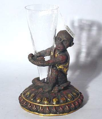 1M: CAST RESIN AND MOULDED GLASS GILT DETAILED FIGURAL