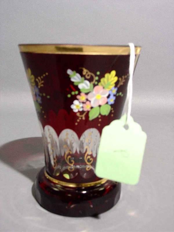 1V: RUBY-TO-CLEAR BOHEMIAN GLASS BEAKER, having a flora