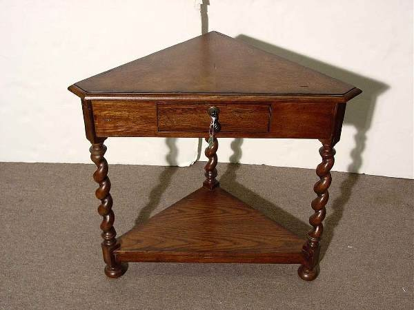 33: JACOBEAN STYLE CARVED BURLED ASH SINGLE-DRAWER CORN