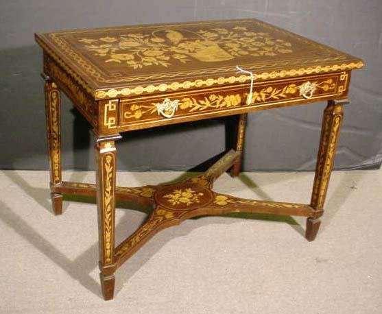 112: DUTCH MARQUETRY STYLE SINGLE-DRAWER SIDE TABLE/WRI