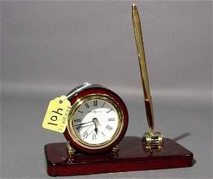 HOWARD MILLER LACQUERED MAHOGANY TABLE CLOCK DESK