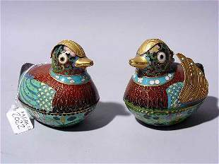 PAIR OF CHINESE CLOISONNE DUCK FIGURED COVERED BOX