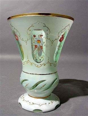 WHITE-TO-CLEAR BOHEMIAN GLASS BEAKER, of trumpet s