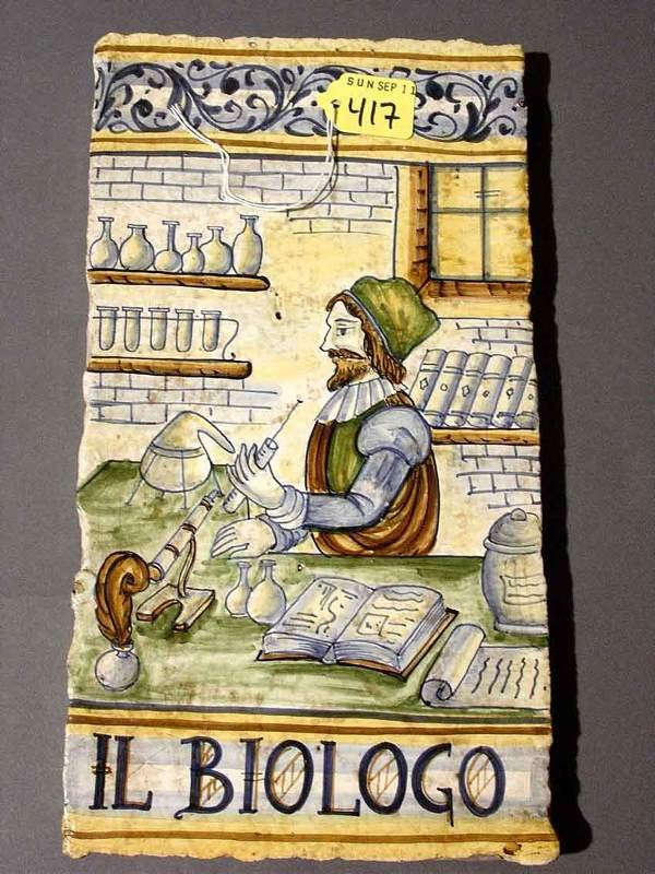 417: HAND-PAINTED ITALIAN TERRACOTTA TILE, the colorful