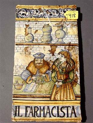 HAND-PAINTED ITALIAN TERRACOTTA TILE, the colorful