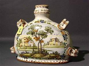 DECORATED ITALIAN MAJOLICA WINE CANTEEN, with a re