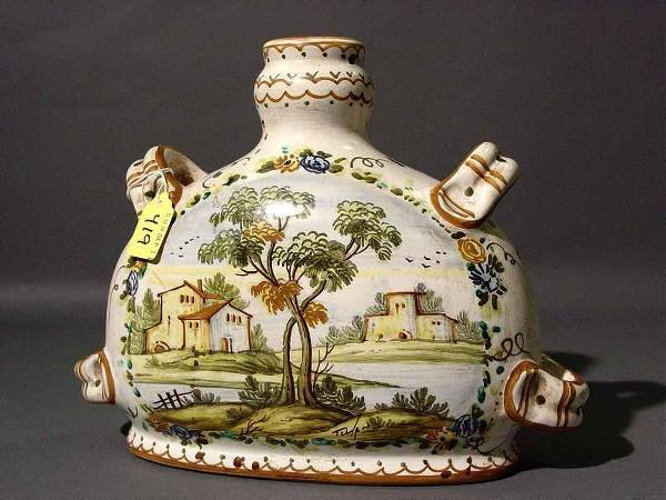 419: DECORATED ITALIAN MAJOLICA WINE CANTEEN, with a re