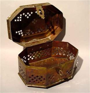 POLISHED BRASS RETICULATED CRICKET BOX OF RECTANGUL