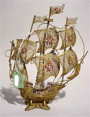 PORTUGUESE FILIGREE BRASS MODEL 3-MASTED SHIP,