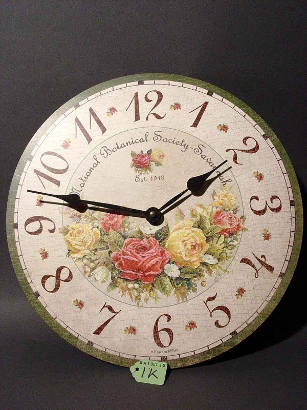 1K: HOWARD MILLER WALL CLOCK - SAVANNAH BOTANICAL SOCIE