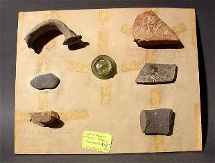 LOT OF ANCIENT POTTERY, STONE AND GLASS FRAGMENTS F