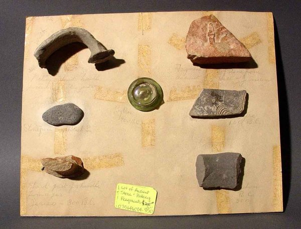 1L: LOT OF ANCIENT POTTERY, STONE AND GLASS FRAGMENTS F