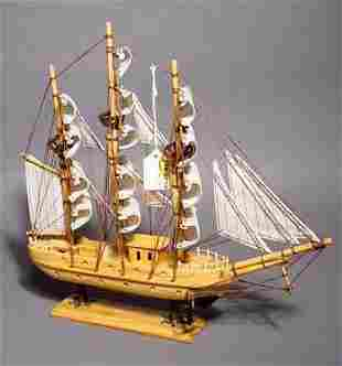 HAND-CRAFTED SCALE MODEL OF THE MAYFLOWER, fully