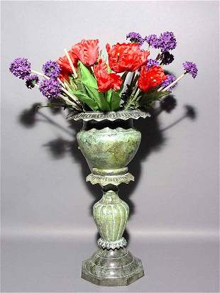 VERDIGRIS FINISHED BRASS PLANTER ON STAND, having a