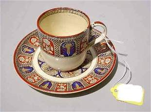 WEDGWOOD STONEWARE CUP/SAUCER - INDIAN PATTERN