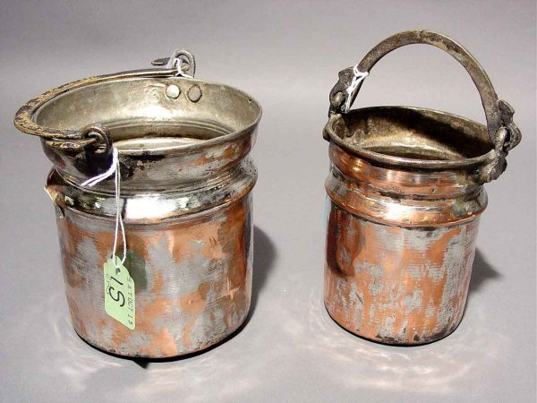 1S: LOT OF TWO SMALL TUSCANY COPPER PAILS, with swing h