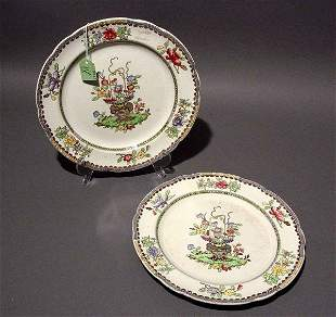 PAIR OF COPELAND SPODE PLATES, Old Bow pattern;