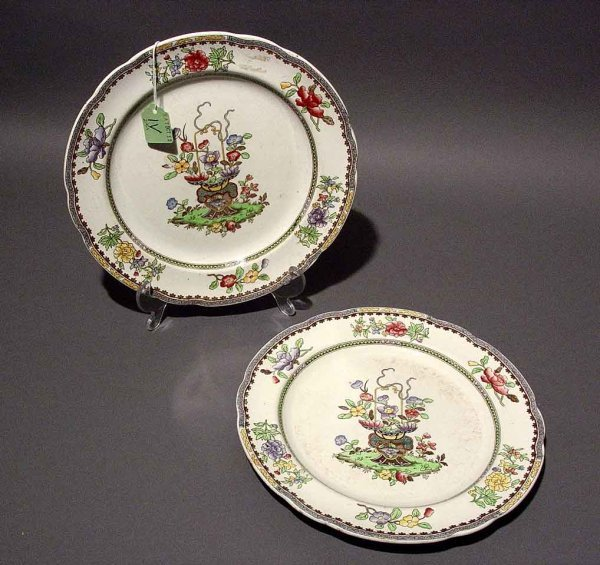 1V: PAIR OF COPELAND SPODE PLATES, Old Bow pattern;