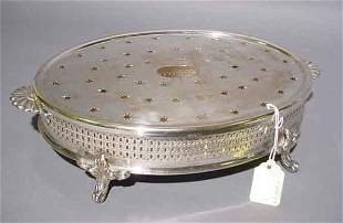 19c SILVERPLATED OVAL WARMING STAND, late 19th cent