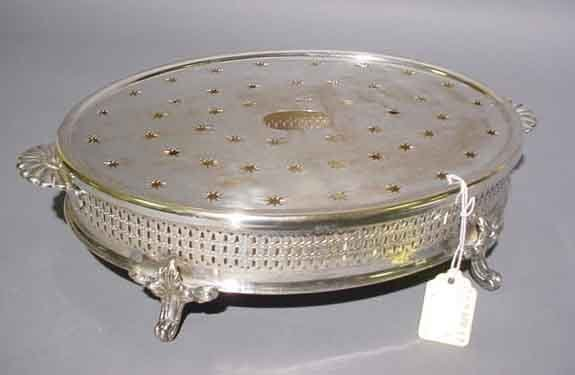 1W: 19c SILVERPLATED OVAL WARMING STAND, late 19th cent