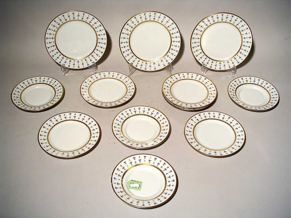 1X: LOT 13 LIMOGES DECORATED DESSERT PLATES AND DISHES,