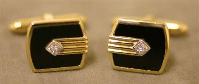 186: PAIR OF 14 KT. YELLOW GOLD, DIAMOND AND BLACK ONYX