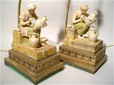 347: PAIR OF DECORATED BISQUE FIGURAL TABLE LAMPS, depi