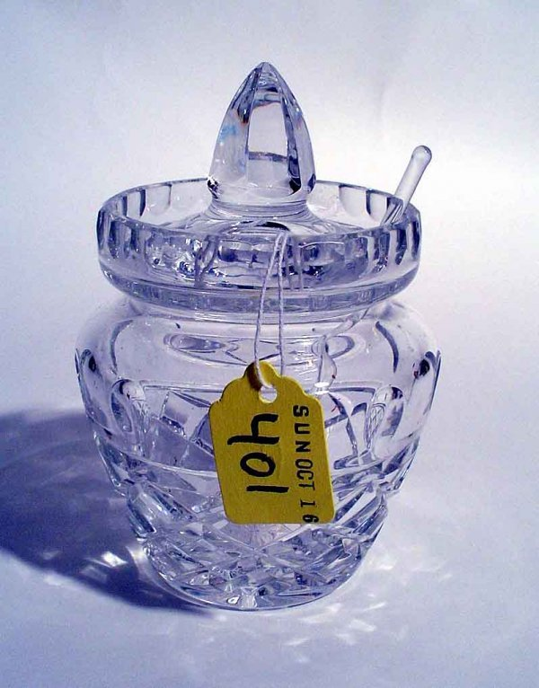 401: CUT CRYSTAL COVERED JAM JAR, having faceted sides,