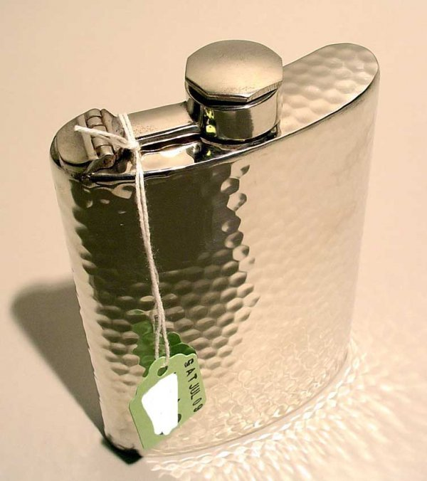 402: HAMMERED PEWTER FLASK, with captive top; 8 oz.; 5-