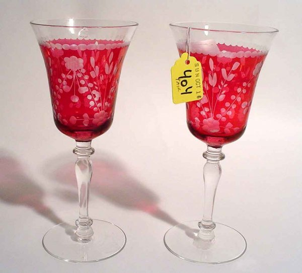 404: EARLY 20c PR ETCHED CRANBERRY GLASS WINE STEMS,