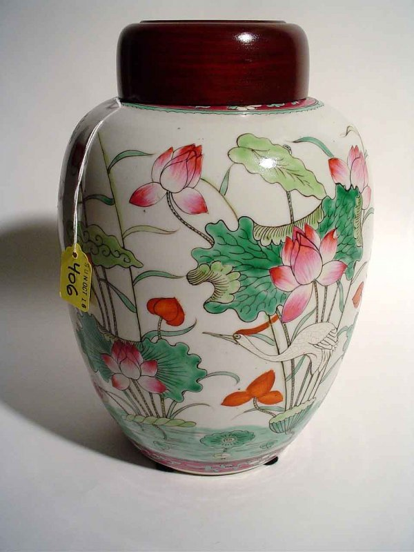 406: CHINESE DECORATED PORCELAIN COVERED GINGER JAR, wi