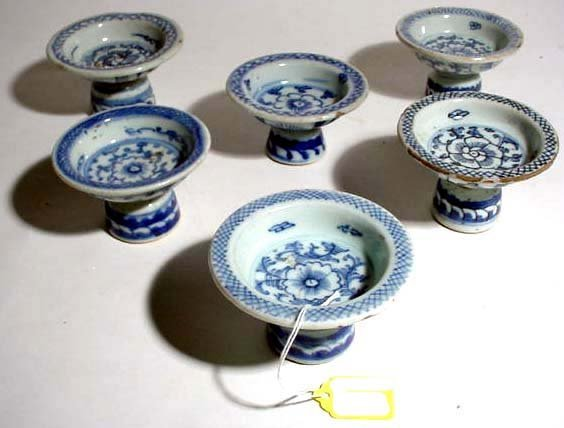 408: 19c SET 6 CHINESE BLUE-WHITE PORC OFFERING DISHES