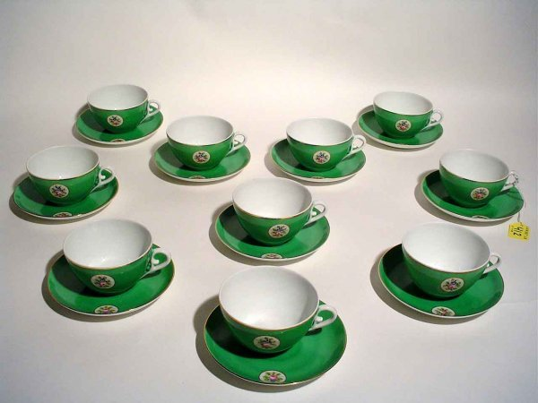 412: SET 10 FLORAL DEC-GILDED PORTUGUESE CHINA CUPS/SAU