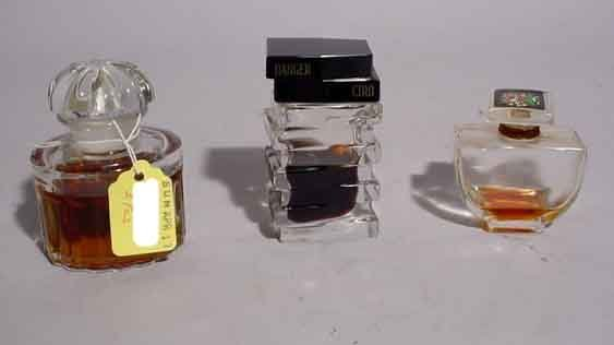 415: LOT 3 FRENCH CRYSTAL SCENT BOTTLES, 20th century,