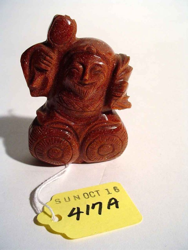 417A: SMALL CARVED CHINESE GOLDSTONE FIGURE OF A HOTAI;