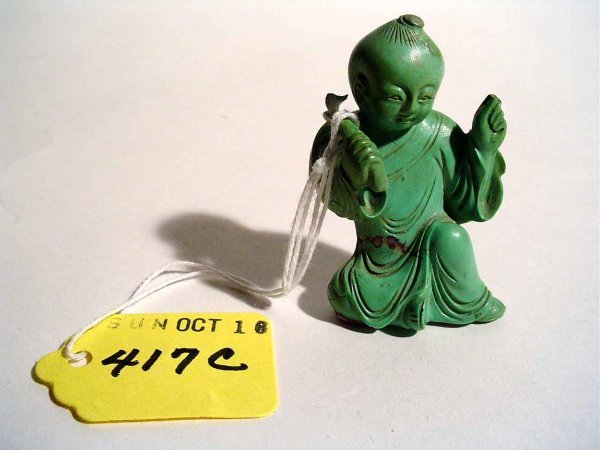 417C: SMALL CHINESE CARVED TURQUOISE FIGURE OF A YOUNG