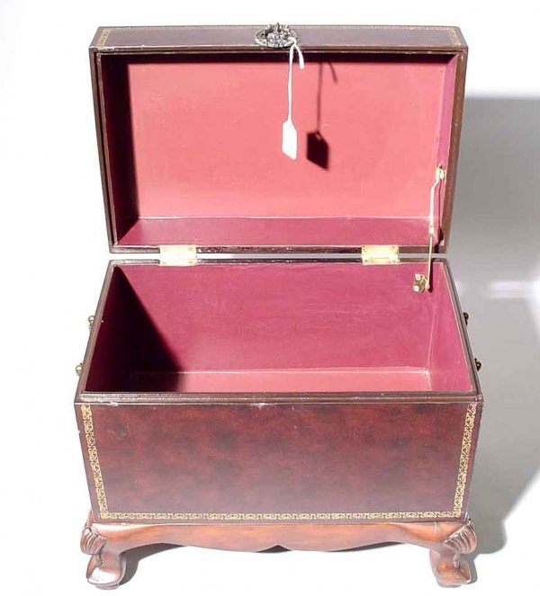 419: GILT TOOLED LEATHER CLAD BOX ON STAND, of rectangu