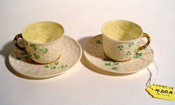 420A: PAIR OF IRISH BELLEEK SHAMROCK TEA WARE CUPS AND
