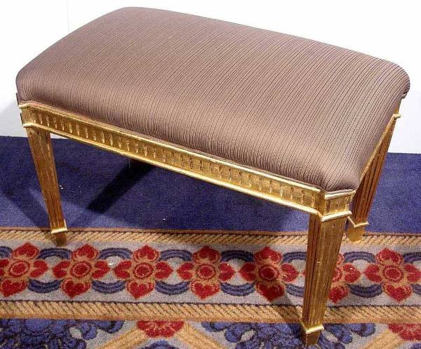 4: LOUIS PHILIPPE STY CARVED-GILDED UPHOLSTERED FOOTSTO