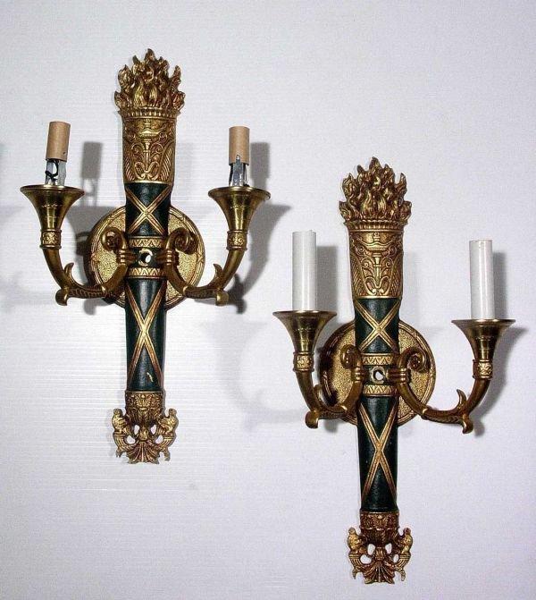 7: PR LOUIS XVI STY CAST BRASS TORCH WALL SCONCES,