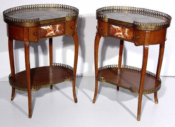 9: PR LOUIS XV STY KIDNEY SHAPED MARBLE TOP END TABLES,