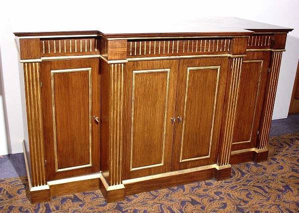 11: FAUX GRAINED ROSEWOOD GILT ACCENTED FOUR-DOOR ENTER