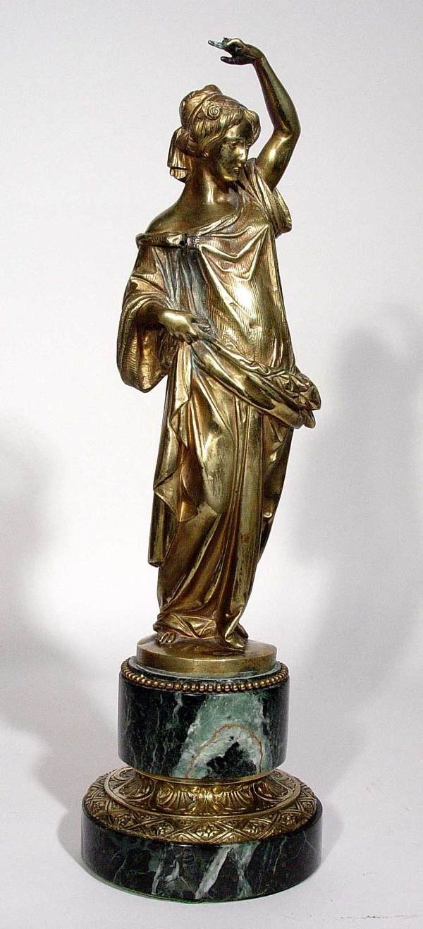 12: 19c POLISHED BRONZE-MARBLE FIGURE CLASSICAL MAIDEN