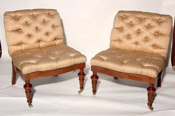 16: PR VICTORIAN STY MAHOGANY FULLY UPHOLSTERED CHAIRS