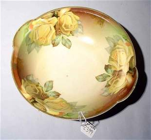 1001A: FLORAL DECORATED BAVARIAN CHINA BOWL, early 20th