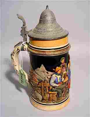 1001K: DECORATED GERMAN CERAMIC BEER STEIN WITH A PEWTE