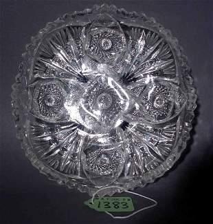 1001O: AMERICAN BRILLIANT PERIOD CUT GLASS SCALLOPED BO