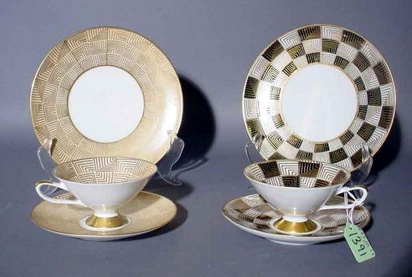1403: SIX-PIECE SCHUMAN DECORATED TEA SET, the decorati